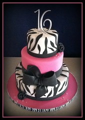 Sweet 16 Cake (It's All About the Cake) Tags: pink black cake zebra tiers sweetsixteen fondant