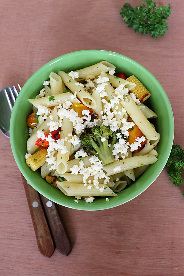 Pasta With Roasted Vegetables And Crumbled Fresh Cheese