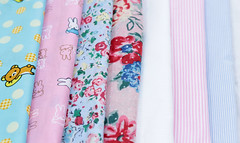 Pinks and Blues! (KHOLO_OD) Tags: bunnies floral stripes fabric cotton rilakkuma