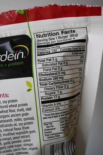 Gardein meatless burger nutritional stats