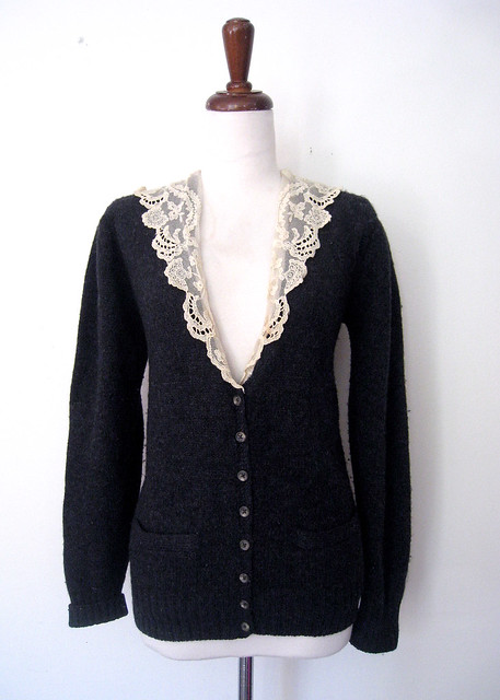 Lace Collar Charcoal Gray Wool Cardigan, vintage 80s