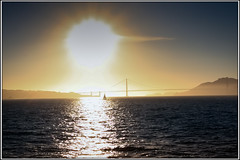 Sunset at the Golden Gate (SergeK ) Tags: ocean sanfrancisco california bridge sunset red usa sun water golden soleil san flickr pacific pont californie sergek flickrstruereflection1 franciscocaliforniecaliforniasfsergekusa