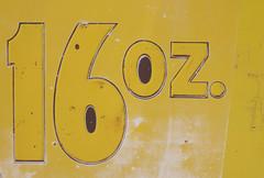 16 oz. (Jon Matthies) Tags: arizona house abstract black detail sign yellow metal rust jon paint cola antique decay az flagstaff steak lotta barts matthies 16oz
