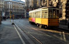 tram-onto (the rik pics) Tags: sunset milan yellow tramonto milano tram giallo publictransport atm piazzacairoli trasportopubblico giallomilano
