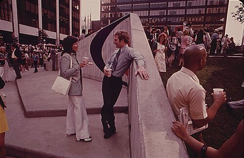 DOWNTOWN WORKERS AND SHOPPERS ENJOY LUNCHTIME BREAK AT CHESTER COMMONS MINI-PARK, 06/1973