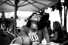 girl in cafe (gorbot.) Tags: blackandwhite bw cafe f14 malaga roberta canoneos5d nikonfmount planar5014zf silverefex carlzeisszf50mmplanarf14 eosadaptor