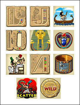 free Treasures of Pharaohs slot game symbols