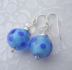 Dotty For Spots in Blue (5) (Glittering Prize - Trudi) Tags: blue glass beads crystal handmade jewellery sparkle spots earrings lampwork dotty polkas