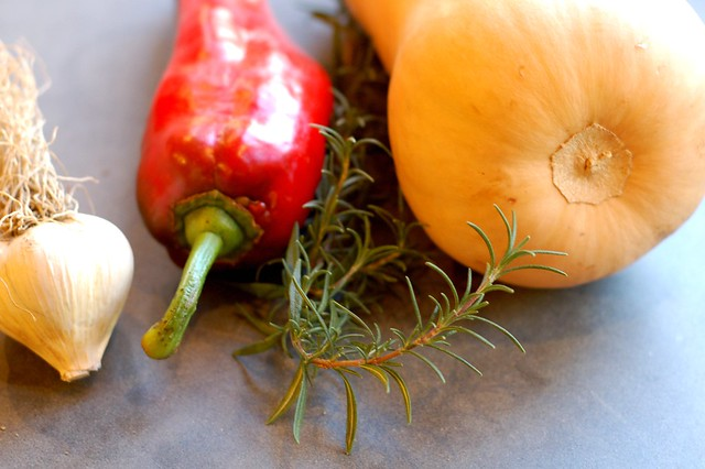 Butternut, red pepper, rosemary and garlic by Eve Fox, Garden of Eating blog, copyright 2011