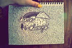 never change (kimberley. ) Tags: flowers art clouds writing notebook stars notes drawing text font doodles typeface notepad neverchange typeform