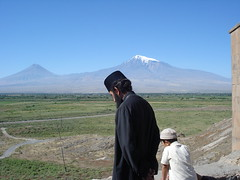 Armenian priest looking to Ararat (Alexanyan) Tags: mountain church kirche christian mount chiesa monastery armenia priest christianity orthodox eglise snowscape armenian ararat armenio armenien caucas khor armenie armeno caucasia virap   armenienne hayasdan virab
