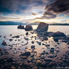 Long Exposure loch lomond (OnlyEverOneJack) Tags: longexposure sunset sun set bay scotland long exposure angle sony wide hard sigma wideangle shore nd loch grad lomond hitech lochlomond density neutral sigmalens greatphotographers a900 millarochy sigma1735mm rockpaper sonyalpha nd110 nd10 millarochybay hardgrad sonyalphaa900