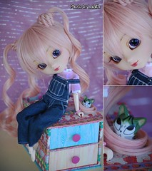 Happy birthday Poison!!! o()o  [Explored] (_Lalaith_) Tags: pink never cute cat miniature doll chii curls cm 25 kawaii overalls denim pullip lalaith obitsu papin rewigged