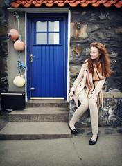 Red and Blue (Szmytke) Tags: beauty fashion scarf pose scotland ginger model sand aberdeenshire heather coat redhead jeans jacket teenage