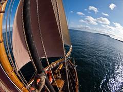 More fisheye pictures (katrin glaesmann) Tags: sea holiday sunshine scotland beads high sailing fisheye sail mast outerhebrides 2011 edafrandsen gaffcutter userehebriden intheshrouds