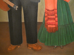 Frida Kahlo, Frieda and Diego Rivera with detail of shoes