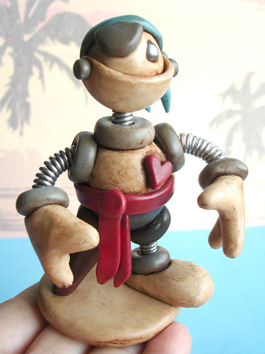 Talk Like a Pirate Day Geekery | Pirate Grungy Bot | Robot Sculpture by HerArtSheLoves