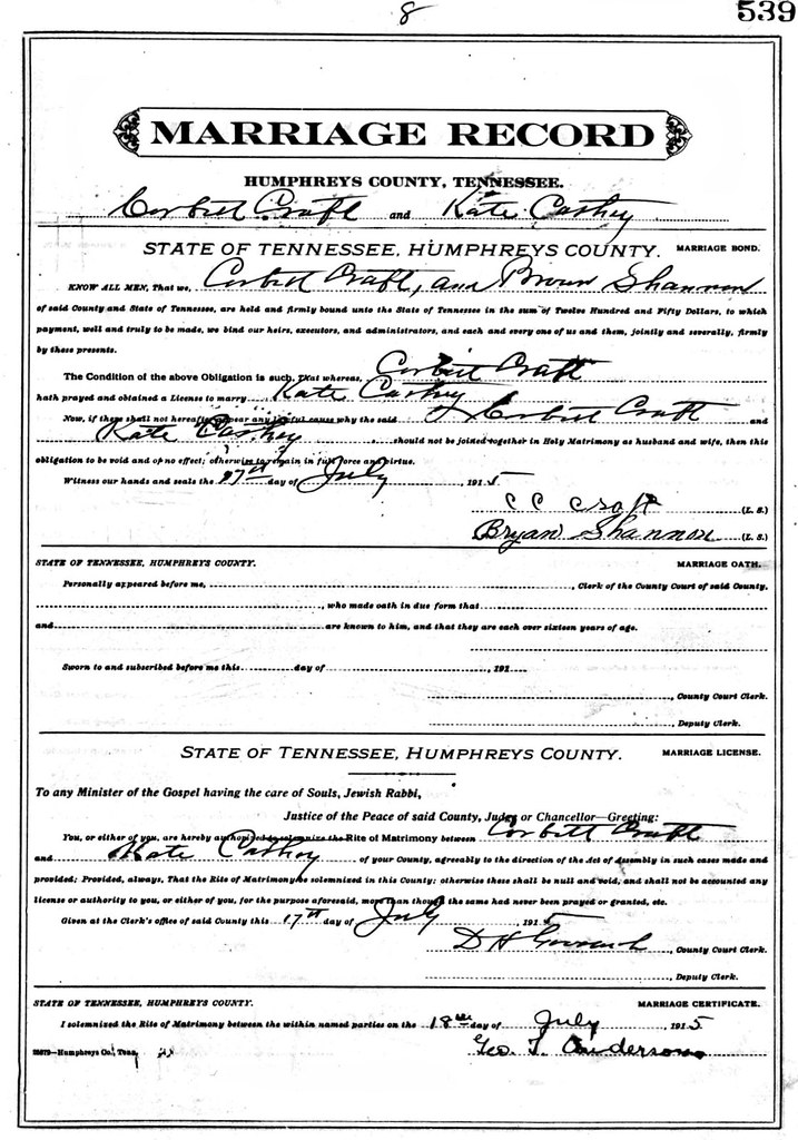Heny Corbett Craft and Katie Clady Cathey Marriage Record