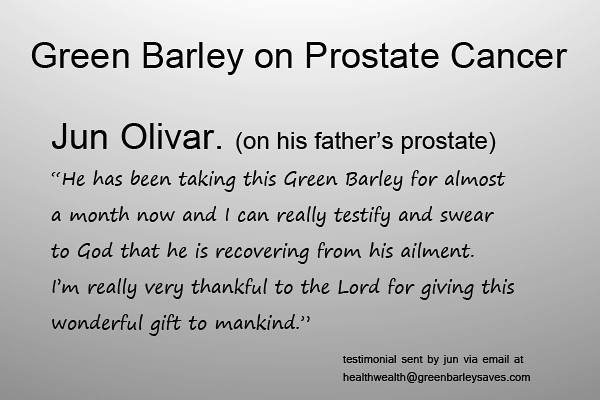 green barley testimonial on prostate cancer inspired by april boy regino