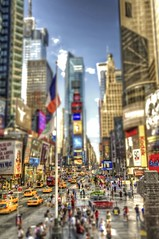 Times Square Tilt Shift HDR (Dave DiCello) Tags: newyorkcity newyork photoshop nikon manhattan tripod timessquare nikkor hdr highdynamicrange cs4 tiltshift theatredistrict photomatix tonemapped timessquarenyc colorefex cs5 d700 davedicello hdrexposed