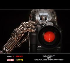Asta la vista baby ! (Chewee Levelu) Tags: canon nikon arm pentax head sony 5d collectible terminator alpha sideshow t2 t800 endoskeleton strobist 400d battledamaged