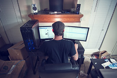 262/365  Dual Monitors (Erich Leeth) Tags: two nerd computer pc nikon sb600 led dualmonitors 23 monitors 365 dual custom aoc project365 sb900 d300s tokina1116mm 1116mmf28