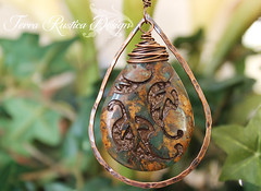 Autumn breeze necklace with copper hammered teardrop-african opal pendant (Terra Rustica Design) Tags: art leather stone design handmade copper handcrafted sterling etch pendant sandblast wirewrap autumnbreeze stilver nontoxicpaint terrarusticadesign caroldekle