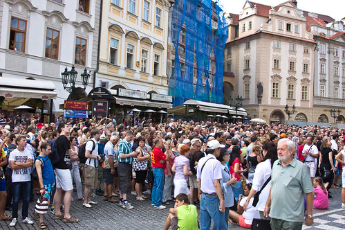 Crazy Crowded at Prague Astronomical Clock!