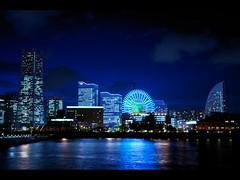 Blue Light Yokohama (hidesax) Tags: blue light reflection japan night lights bay harbor nikon exposure raw nightscape single ferriswheel yokohama nikkor kanagawa minatomirai yokohamalandmarktower d5000 nikkor2470mmf28ged hidesax nikond5000 ishidaayumi