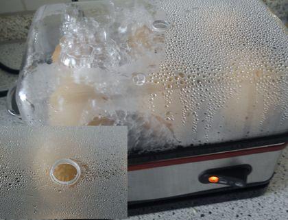 Der Kochvorgang: Wasserdampf ohne Ende, Achtung heiß!
