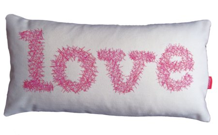 red and pink love cushion