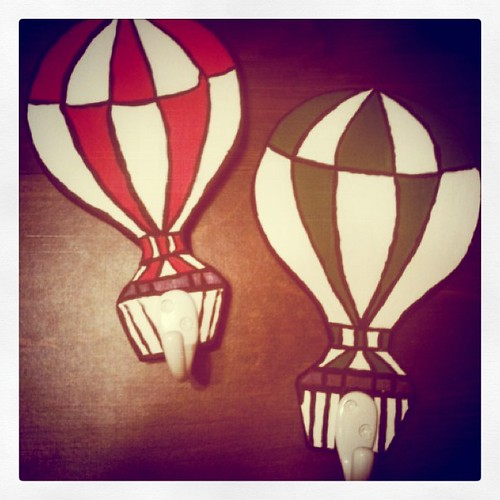 Finished hot air balloon hooks for the nursery