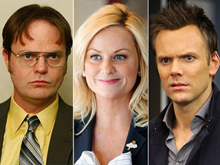 headshots of Leslie Knope, Dwight Schrute, and Jeff Winger from the NBC comedy lineup