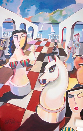 Checkmate on the Riviera - Painting - Cubism