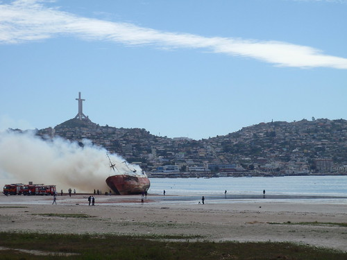 Burning ship out of Coquimbo