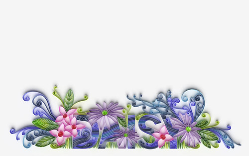 floral quilling in pink, purple, and green