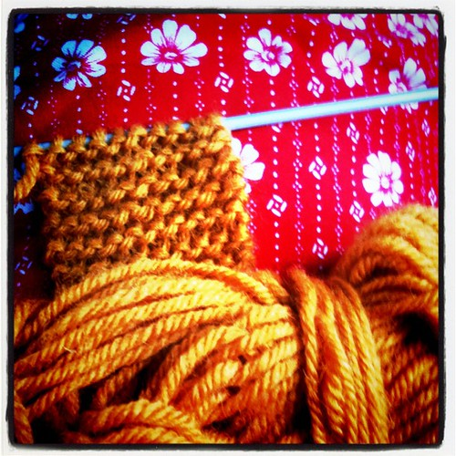 Knitting in a bus.