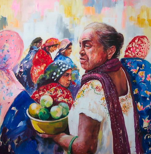 Mexican Woman with fruit - Painting - Realism