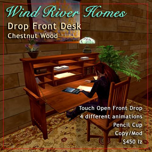 Drop Front Desk - Chestnut