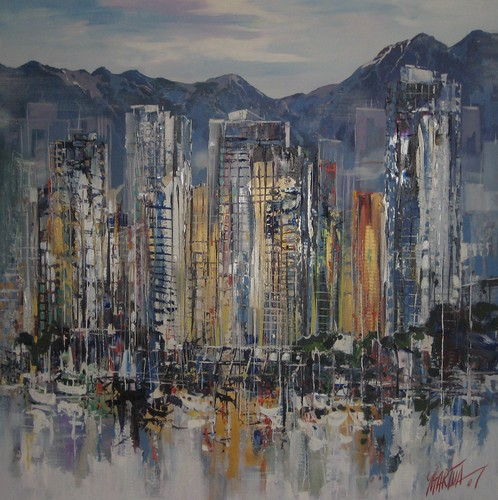 Vancouver Rainy City - Painting - Abstract