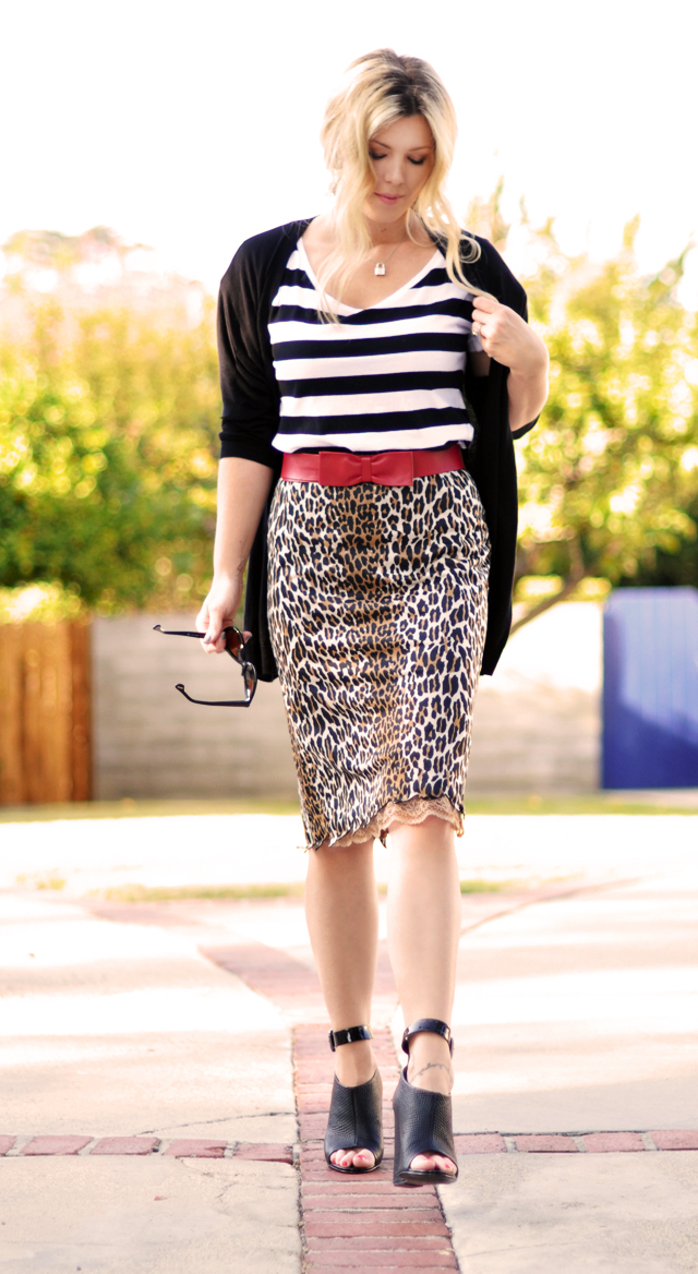 Stripes and Leopard Print  with  red bow belt