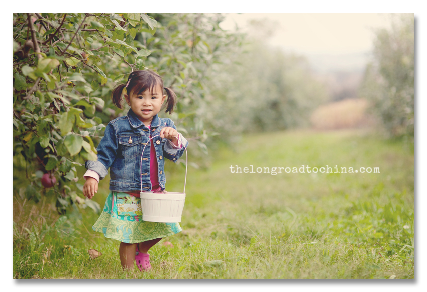 Reagan and Her White Apple Picking Basket BLOG