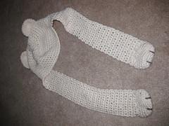 Teddy bear baby hat (CouldBeKim) Tags: bear baby white hat scarf kid child teddy crochet earwarmers
