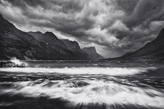 Furious Mary (posthumus_cake (www.pinnaclephotography.net)) Tags: blackandwhite bw lake storm mountains nature water monochrome clouds zeiss landscape mono blackwhite nationalpark montana waves mt monotone september glacier rockymountains glaciernationalpark stmarylake ze distagon carlzeiss wildgooseisland 2821 distagont2821 carlzeissdistagont2821 wildgooseislandoverlook distagon2128ze carlzeissdistagont2821ze