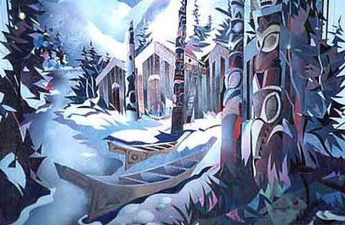 West Coast Native Village - Plexiglass Artwork