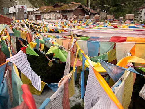 Prayer flags leaving Kangding