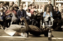 Performance !  {Explore #58} (Alexandre Moreau | Photography) Tags: street people man london public sport action outdoor streetperformers muscle performance streetphotography londres coventgarden strong strength blackman performer abs streetshow fit limbo streetshot spectaclederue d7000 limboshow