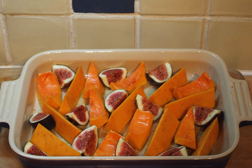 Roast butternut squash and figs ready for the oven