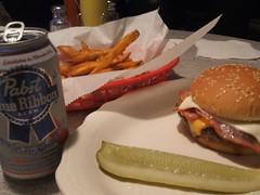 PBR, Wiggie burger, garlic fries