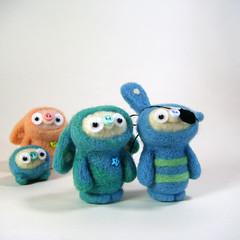 :o) (Kit Lane) Tags: bunnies wool felted toys miniature plush odd kawaii characters fiberart needlecraft burble kitlane bobbaloos